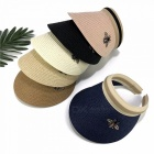 Summer-Empty-Top-Bee-Design-Straw-Hat-Korean-Casual-Shade-Sunscreen-Beach-Sun-Hats-Navy