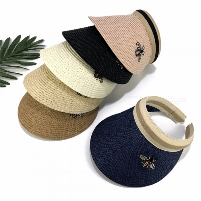 Summer Empty Top Bee Design Straw Hat Korean Casual Shade Sunscreen Beach Sun Hats Black