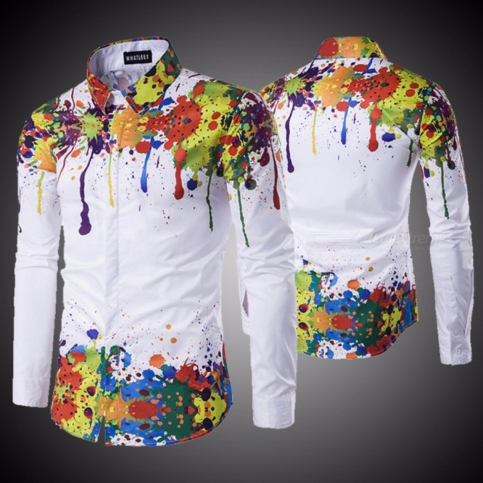 New Fashion Men Shirt Long Sleeve 3d Splash Ink Print Mens Shirts Casual Plus Size Men Shirt White/M