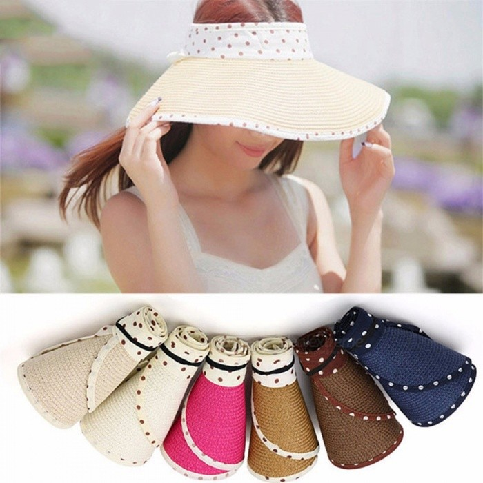 Summer Empty Top Bowknot Dot Raffia Straw Hat Korean Casual Shade Sunscreen Beach Sun Hats Khaki