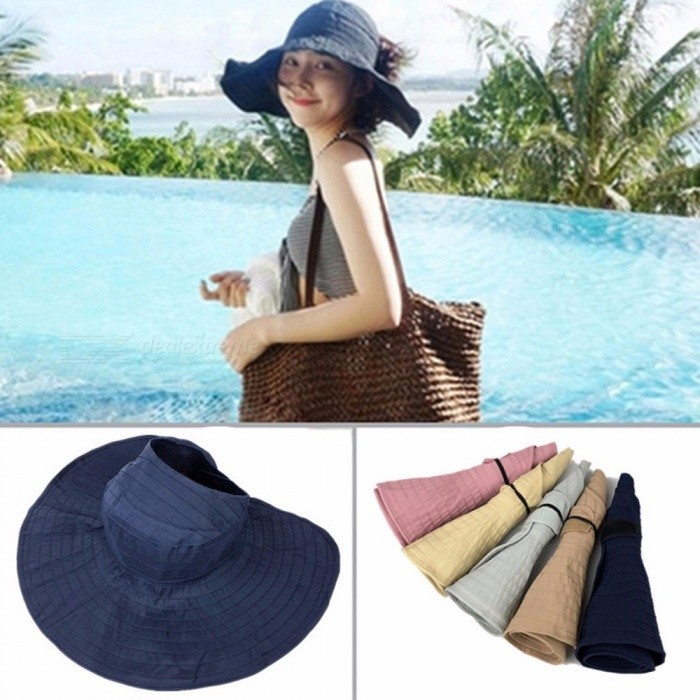 Newly Design Women Hot Summer Large Brim Folding Bucket Hat Beach Sunscreen Cap Sun Hats White