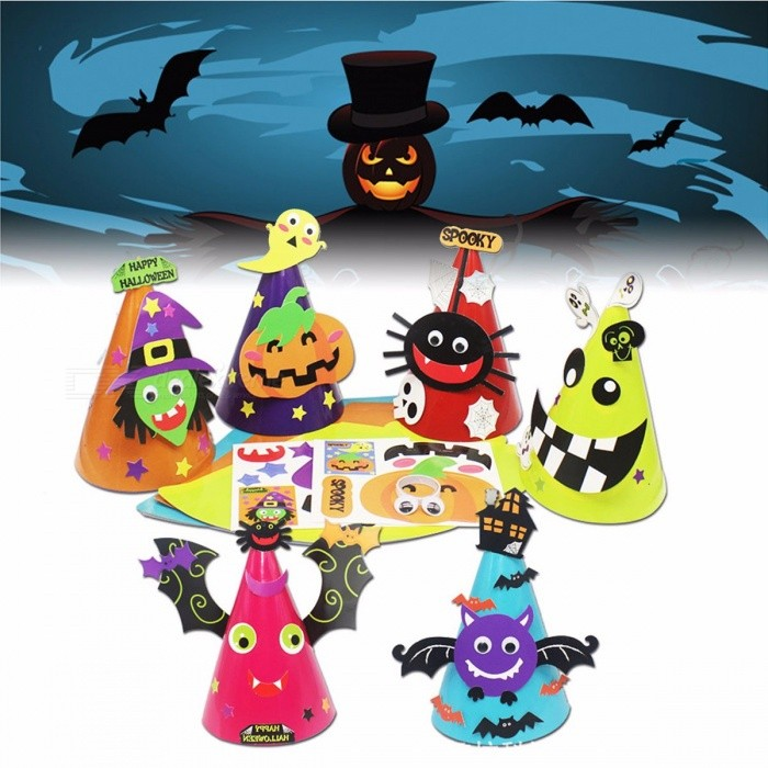 Halloween Role Play Children DIY Handmade Paper Hat Bat Pumpkin Party Hats Caps Dress Party Favors Gift Halloween Orange
