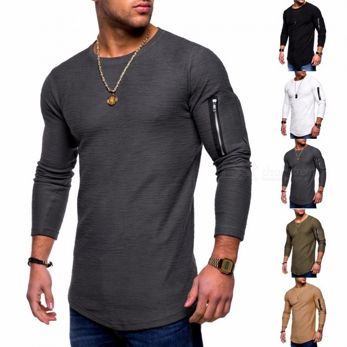 2018 New Men's Solid O-Neck T-Shirts Long-sleeved T-shirt Men Tops Tees Black/S