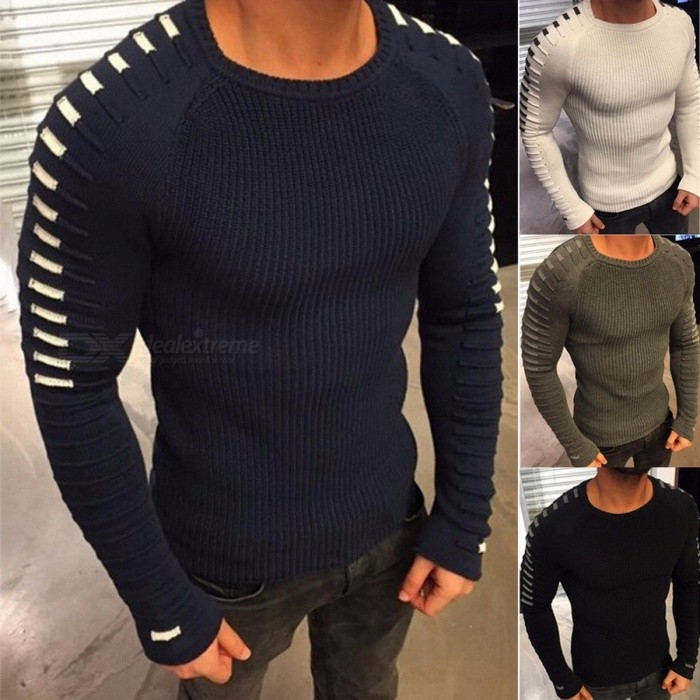 2018 New Winter Men's Sweater Round Neck Pullover Solid Color Long-Sleeved Youth Loose Sweater - Black