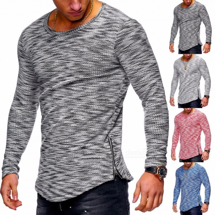 2018 Autumn Winter Men's T-Shirts Casual Patchwork Long Sleeve T Shirt Blue/S