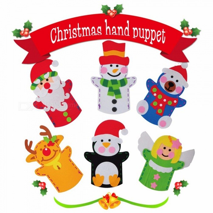 DIY Easy Crafts Non-Woven Cloth Animal Santa Claus Snowman Elk Hand Puppet Dolls Creative Sewing Toys For Christmas Gift Red