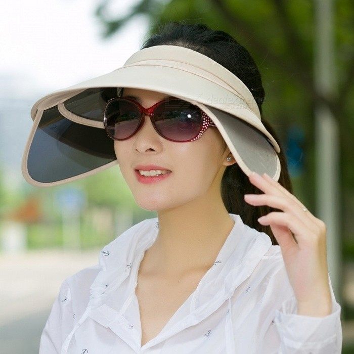 Fashion-Beach-Cap-Shade-Empty-Top-Cap-Female-Summer-Big-Brim-Sunscreen-Folding-Women-Sun-Hat-Gray