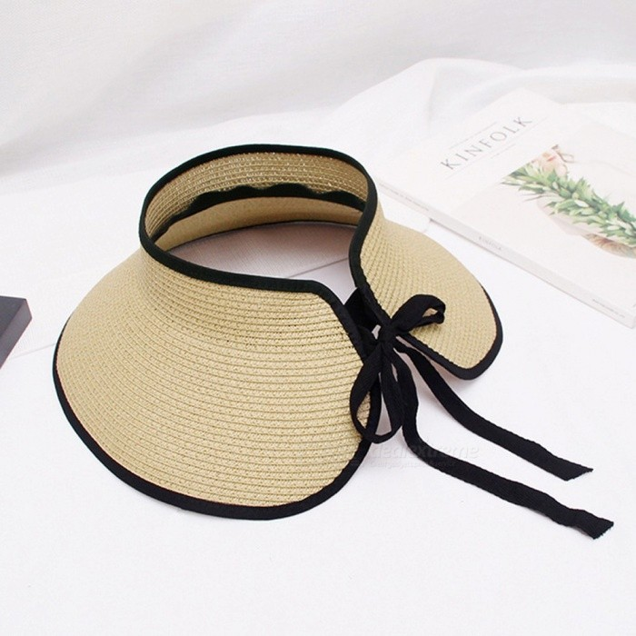 Spring Summer Women Empty Top Cap Bowknot Strap Adjustable Beach Sun Visor Cap Large Brim Hat