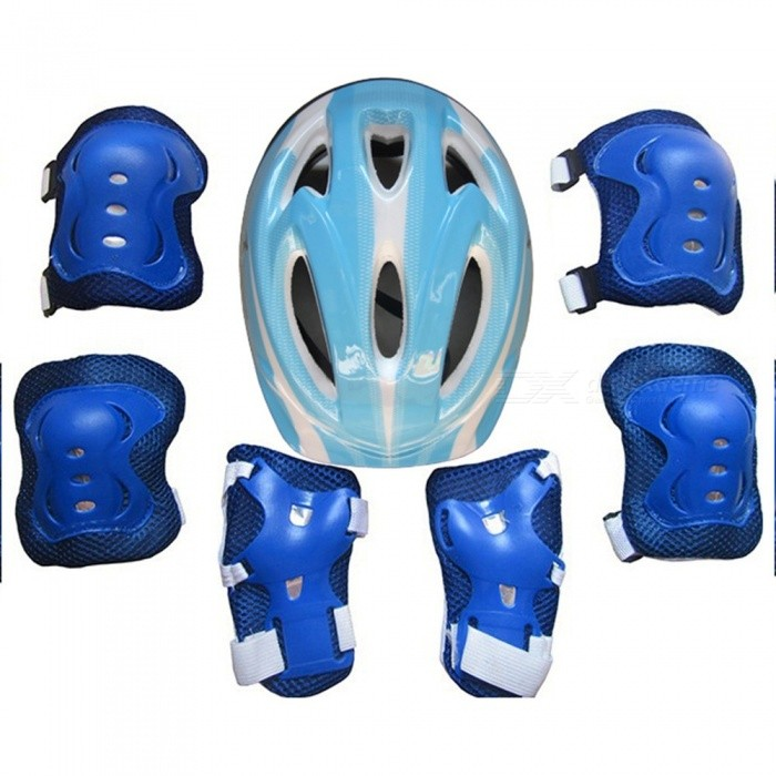 7Pcs Ice Skating Elbow Knee Protective Gear Bicycle Kid Helmet Child Sports Safety Scooter Cycling Set For 5-13 Year-old Blue