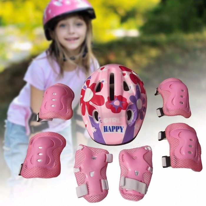 7Pcs Ice Skating Elbow Knee Protective Gear Bicycle Kid Helmet Child Sports Safety Scooter Cycling Set For 5-13 Year-old Pink