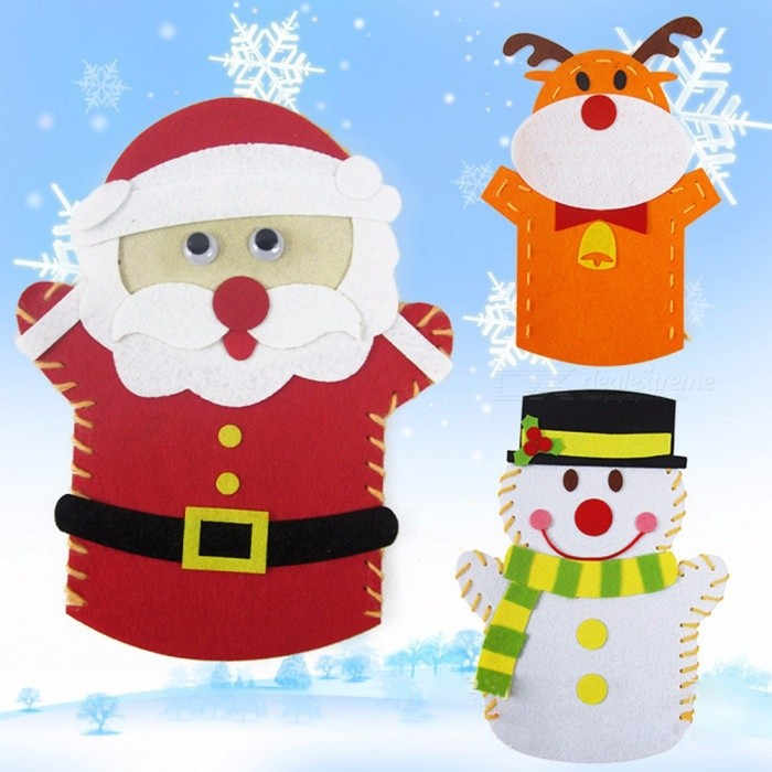 DIY Easy Crafts Non-Woven Cloth Animal Santa Claus Snowman Elk Hand Puppet Dolls Creative Sewing Toys Christmas Gifts Brown