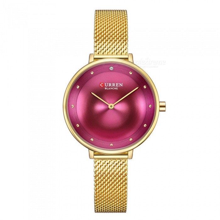 CURREN 9029 Fashion Waterproof Small Round Dial Women's Quartz Watch - Red