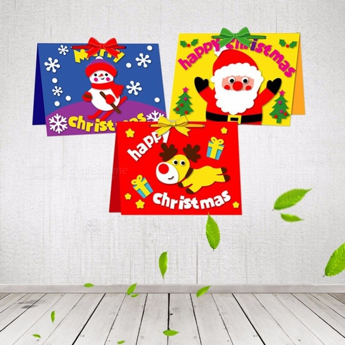 Cute Cartoon Small Santa Claus Snowman DIY Merry Christmas Postcard Greeting Card Gift Card Christmas Red