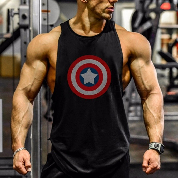 Captain America Pattern Printing I-shaped Vest, Cotton Exercise Workout Sports Tank Tops Vest For Men Black/M