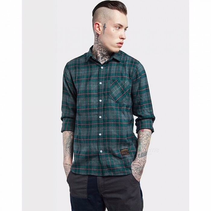Spring New Fashion Men\'s Plaid Shirts, Casual Turn-down Collar Long-Sleeve Men\'s Shirt Clothing Blue/M