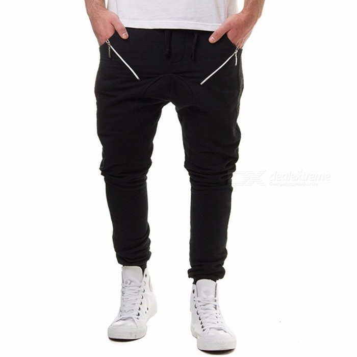 Men's Jogger Sportwear, Casual Lace Up Zipper Patchwork Harem Pants, Elastic Waist Long Trousers Sweatpants - Gray