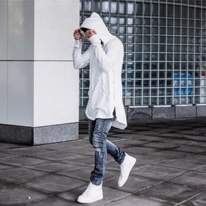 Men's Pullover Sweater, 2018 Casual Loose Male Sweater, Unique Soild Color Men's Hooded Sweatshirts - Black