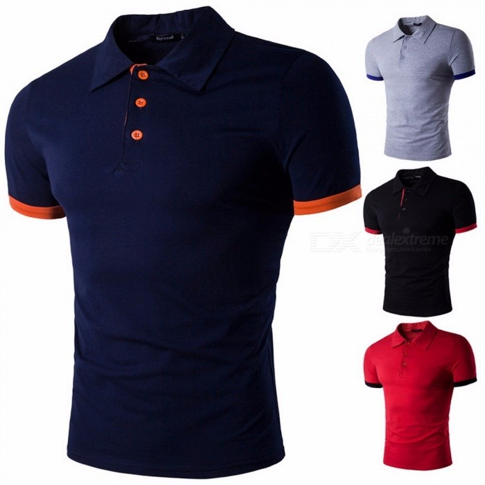 Summer New Short-Sleeved Men's' T-shirt, Unique Casual Cotton Lapel Polo Shirts Red/M