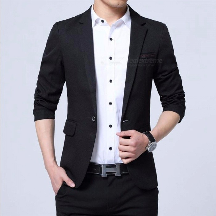Spring Autumn British Fashion Slim Fit Coat Men\'s Casual Suit, Korean Style Small Suit Jacket Black/M