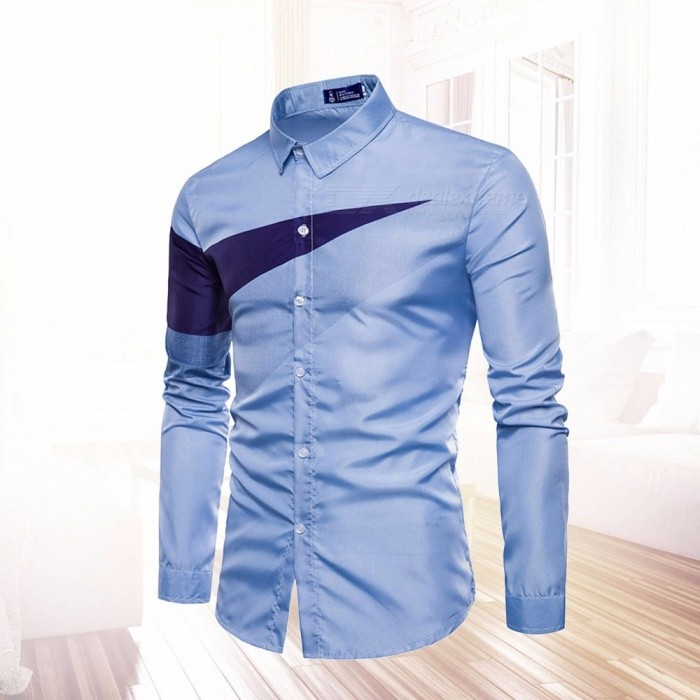2018 New Summer Long-Sleeve Men Casual Shirt, Triangle Printing Shirt, Men\'s Fitness Clothing Tops Sky Blue/S