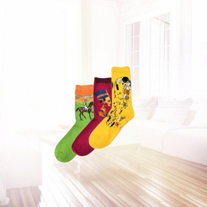 Starry Night Autumn Winter Retro Personality Art Van Gogh Mural World Famous Painting Male Socks, Funny Happy Socks