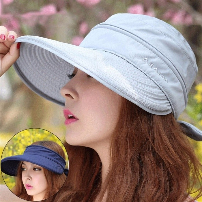 Dual Use Summer Womens Hat Sunproof Removable Zipper Top Empty Cap Wide Brim Hat For Travel Climbing