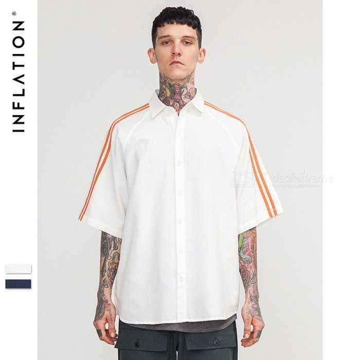 Men's Pullover T-Shirt, 2018 Casual Loose Male Striped Shirt, Unique Men's POLO Shirts White/M