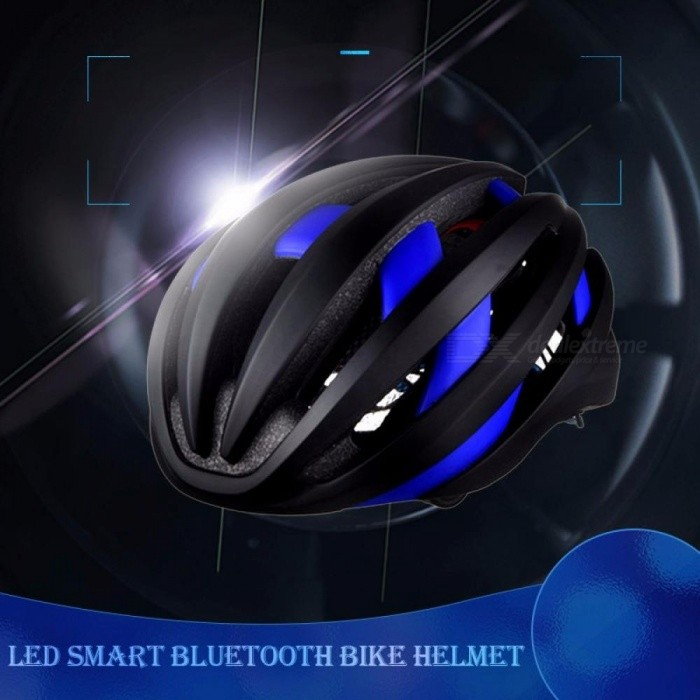 Stylish EPS LED Smart Bluetooth Bike Helmet Outdoor Cycling Safety Helmet Protective Bicycle Gear With Mic For Men Blue