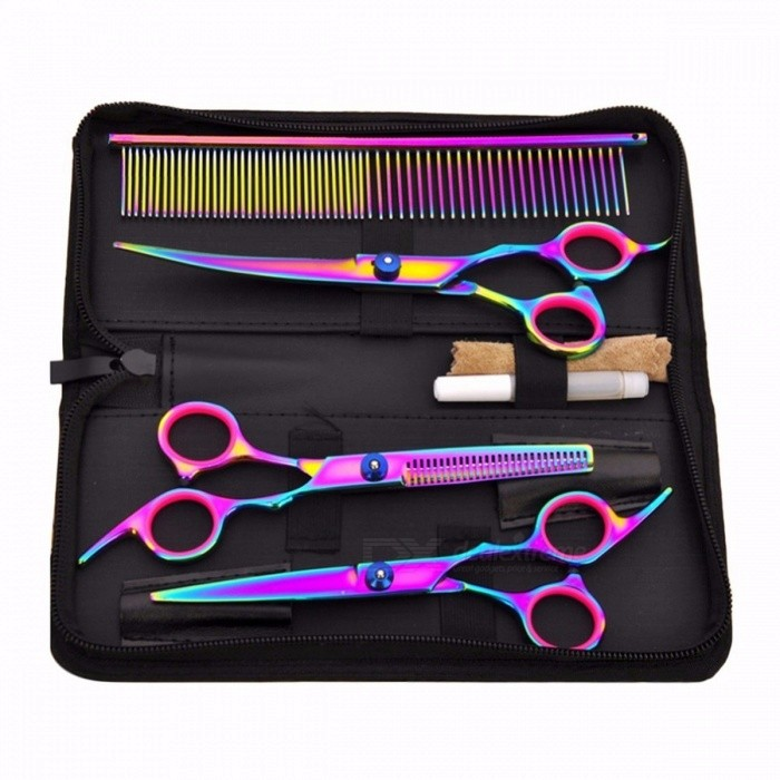 Buy Pet Hair Cut Colorful Scissors Clippers Flat Tooth Cut Pets Beauty Tools Set Kit Dogs Grooming Hair Cutting Scissor Set Purple with Litecoins with Free Shipping on Gipsybee.com