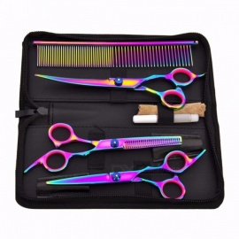 Pet-Hair-Cut-Colorful-Scissors-Clippers-Flat-Tooth-Cut-Pets-Beauty-Tools-Set-Kit-Dogs-Grooming-Hair-Cutting-Scissor-Set-Purple