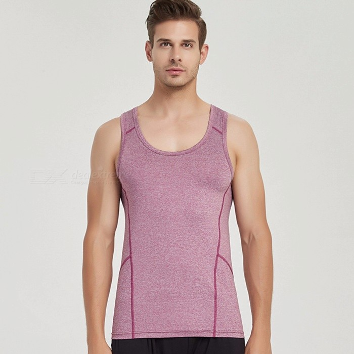 Summer Style Man Vest Quick-drying Slim Training Tight Gym Tank Top Sleeveless Yoga Round Neck Fitness Sport Tops Black/M