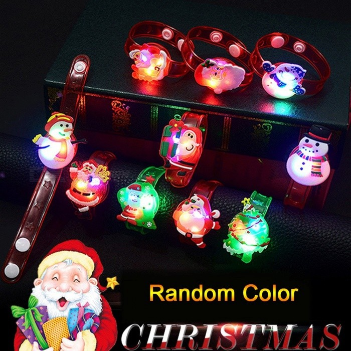 3Pcs Random Color Christmas Gift Children Adult Luminescent Bracelet LED Luminous Flash Wrist Band Watch Kids Assorted