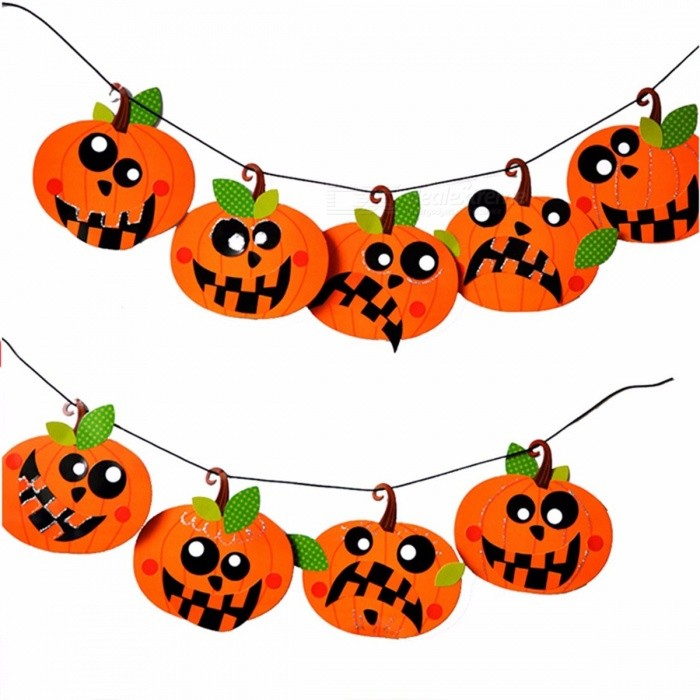 Halloween DIY Paper Garland Pumpkin Emoticon Skull Witch Party Decorations Banner Funny Orange