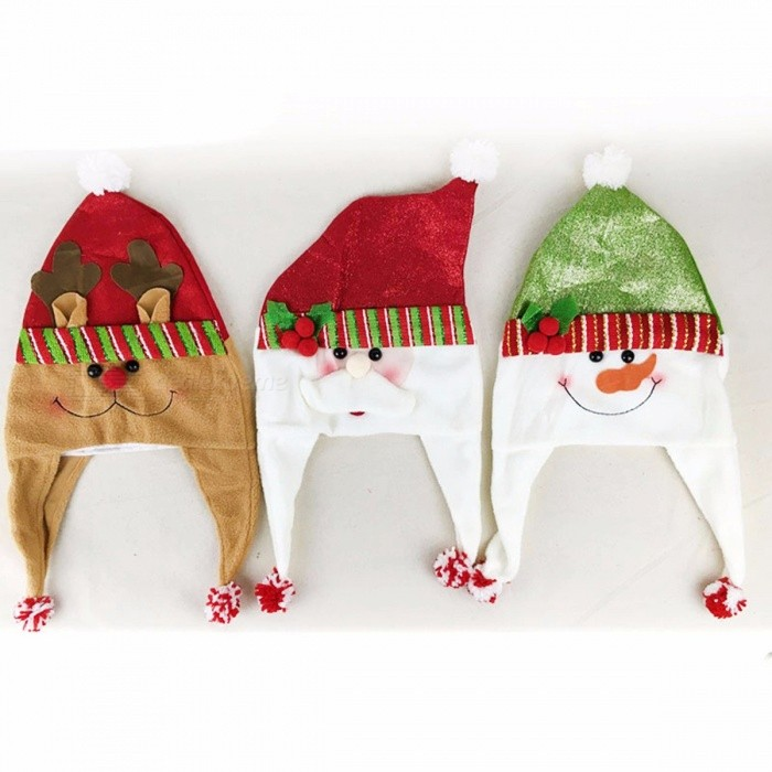 Kid Adult Christmas Hat Children Santa Reindeer Snowman Cartoon Pattern Party Cute Cap Christmas Party Decorations Green
