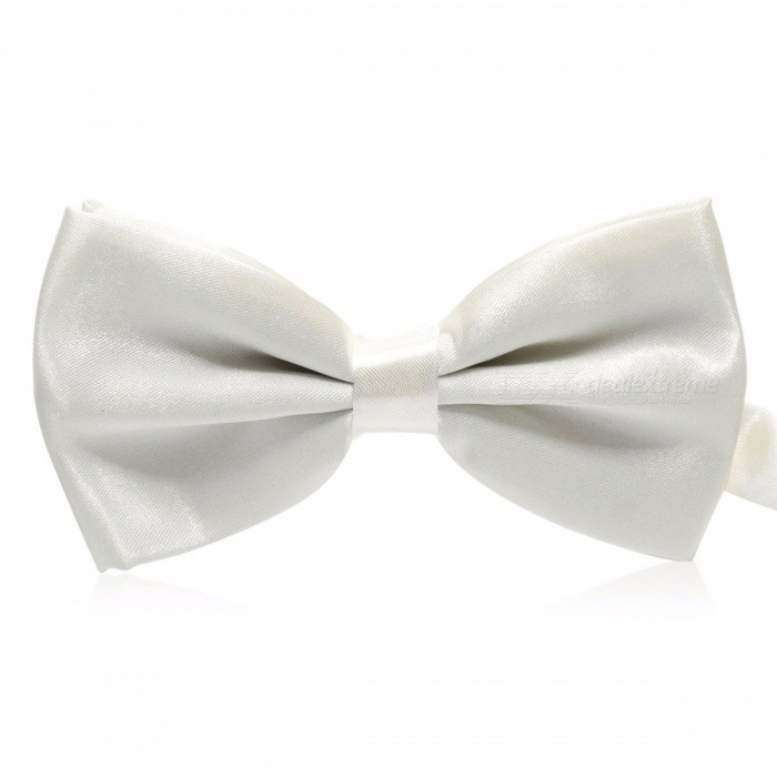 Buy Solid Color Men Formal Necktie, Fashion Business Wedding Bow Tie, Male Dress Shirt Bowtie White with Litecoins with Free Shipping on Gipsybee.com