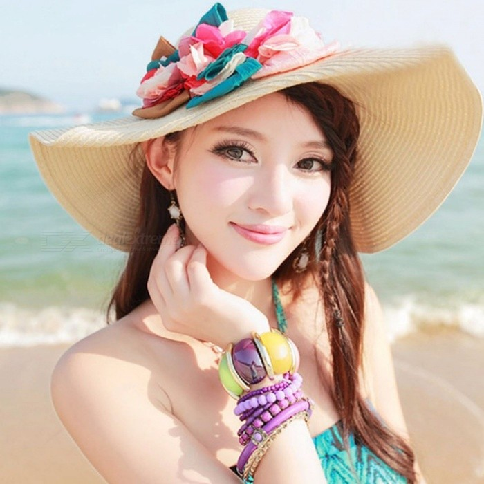 Summer Holiday Sun Protection Hat Bohemian Style Outdoor Travel Folding Beach Hat Rose