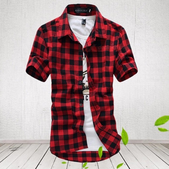 Men Plaid Shirt 2018 Brand Fashion Korean Wild Short Sleeve Shirt Men Cotton Plus Size Top Clothes - Sky Blue
