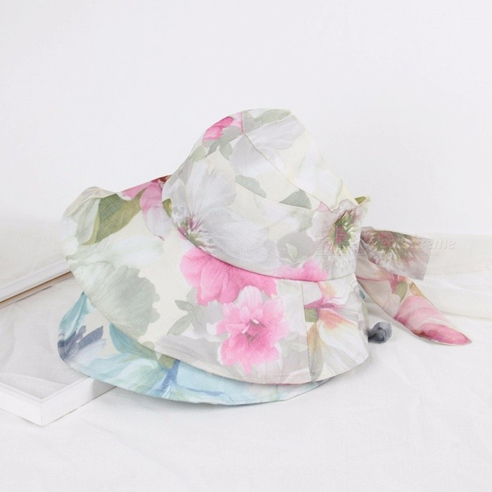 Women Sun Hat Visor Cap Wide Brim Flower Foldable Floppy UV Protection Summer Beach Outdoor