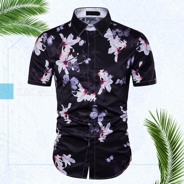 New Men's Personality Floral Print Design European And American Style Short-sleeved Beach Holiday Shirt Black/M