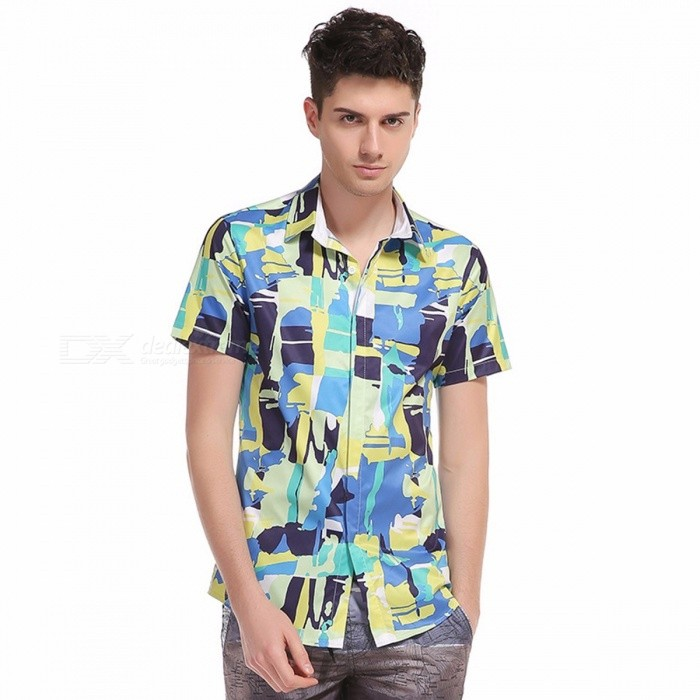 Mens Summer Beach Hawaiian Shirt 2018 Brand Short Sleeve Lage Size Floral Shirts Men Casual Holiday Vacation Clothing Blue/M