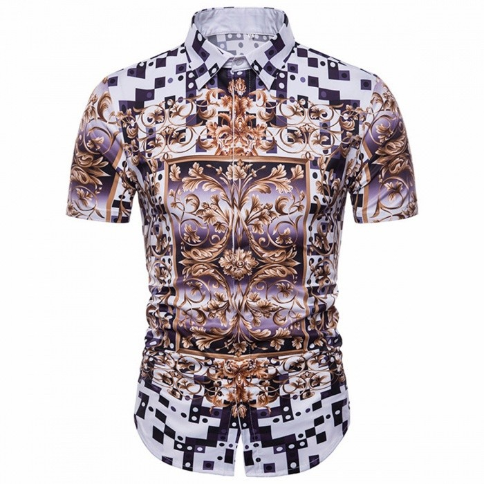 Men's 3D Creative Plaid Speckled Print Thin Short Sleeve Shirt Large Size Casual Shirt Multi/M
