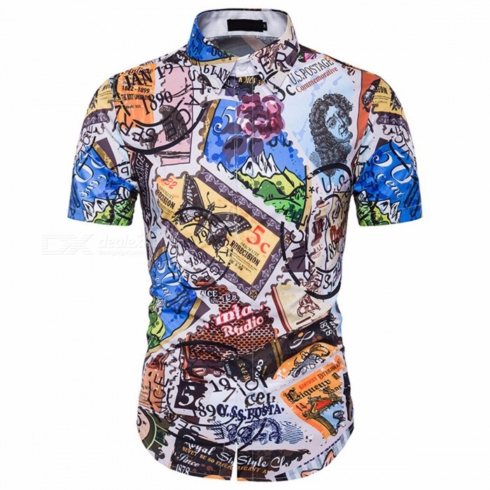 Men's Summer Plus Size Slim Fit Shirt 3D Hawaii Print Short Sleeves Casual Shirt Multi/XXL