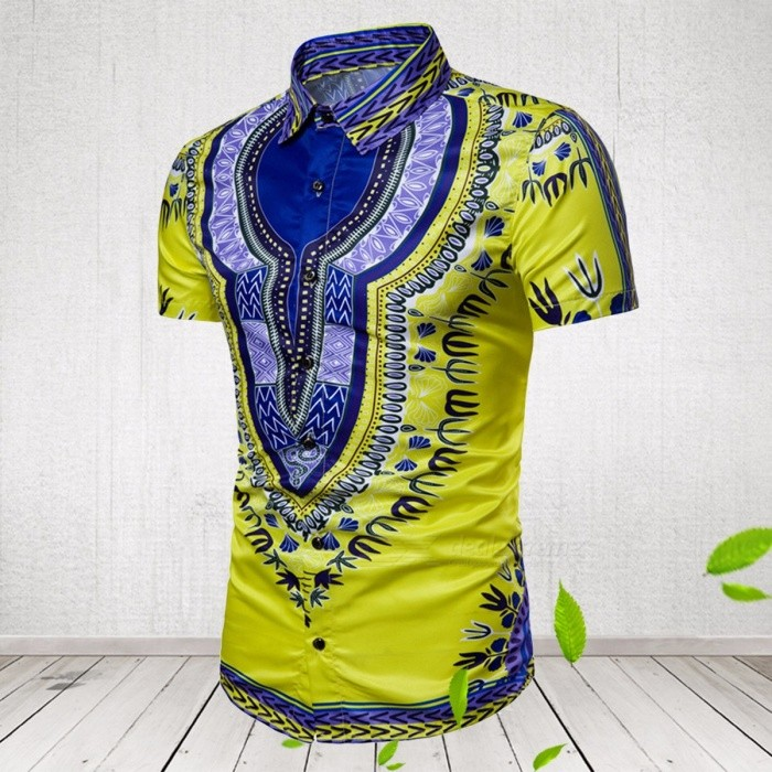 Men's Summer Plus Size Slim Fit Shirt 3D Hawaii Print Short Sleeves Casual Shirt
