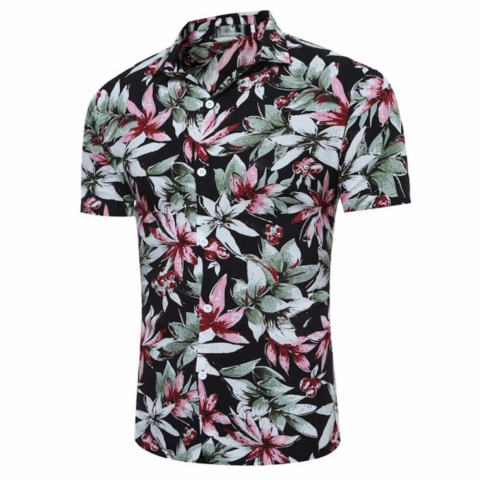 Men's Summer Floral  Printed Short-Sleeved Slim Shirt Hawaiian Beach Casual Shirt - Khaki