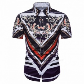 New-Mens-3D-Digital-Printing-Court-Western-Style-Slim-Short-Sleeved-Shirt