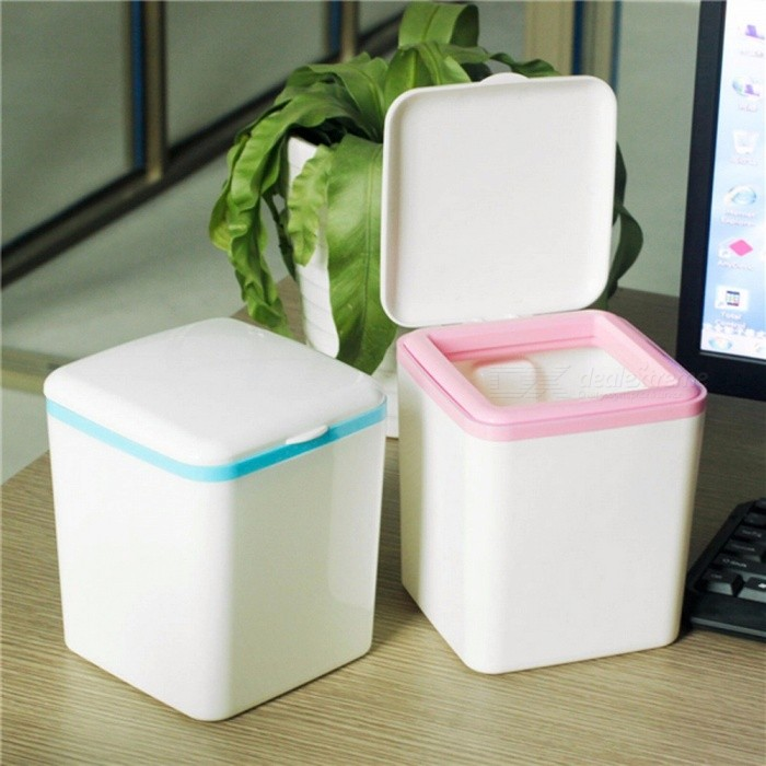 Creative  Mini Rubbish Dustbin Portable Mini Small Trash Waste Garbage Can Container Sky Blue
