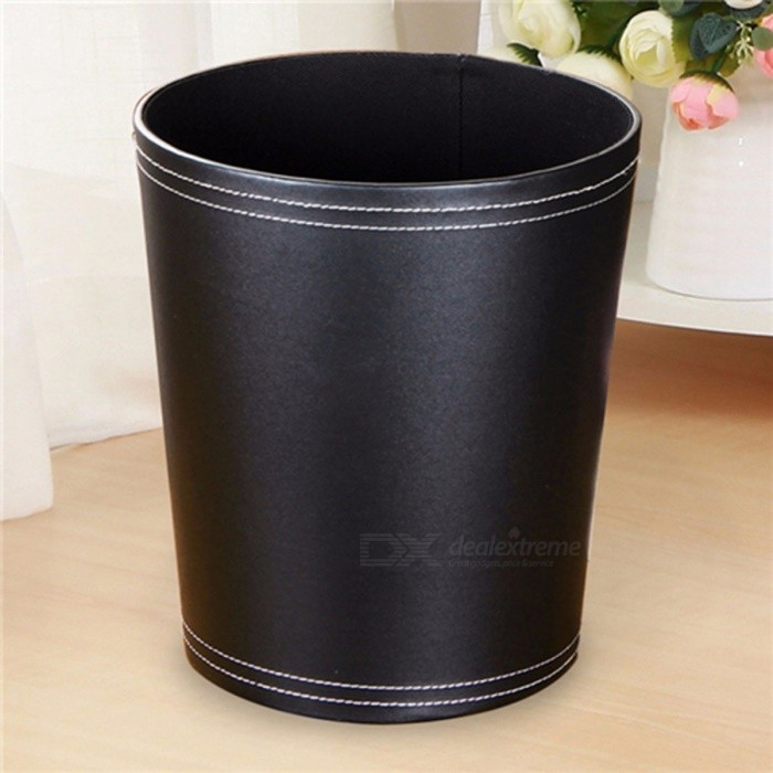 Leather Trash Can Business Office Waste Paper Basket Creative Hotel Room Round Paper Basket Chocolate