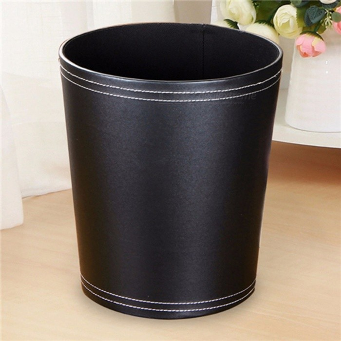 Leather Trash Can Business Office Waste Paper Basket Creative Hotel Room  Round Paper Basket Black