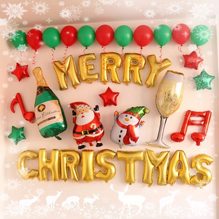 Christmas Decoration Balloons Happy New Year English Letters Aluminum Balloon Packages Window Shops Multi