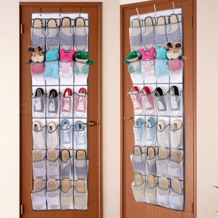 24 Door Non-woven Shoes Storage Bag Mesh Bag Pocket Slippers Storage Bag